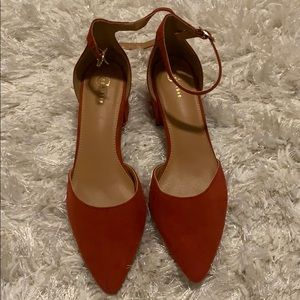 New! C'EST Burnt Orange Low Block Heel